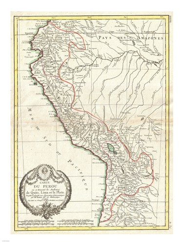 1775 Bonne Map of Peru, Ecuador, Bolivia, and the Western Amazon Poster by Unknown for $67.50 CAD