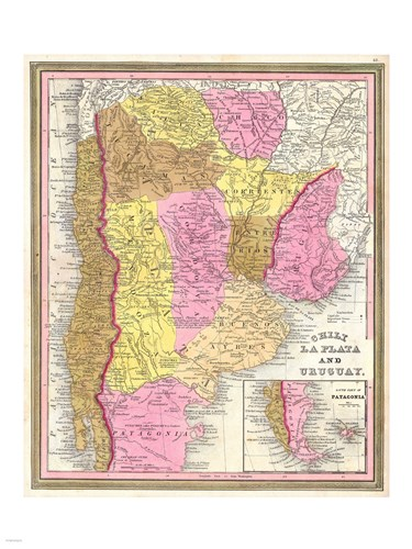 1846 Burroughs - Mitchell Map of Argentina, Uruguay, Chili in South America Poster by Unknown for $67.50 CAD