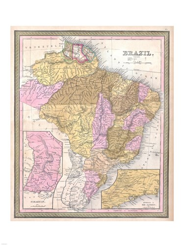 1850 Mitchell Map of Brazil, -1849 Poster by Unknown for $67.50 CAD