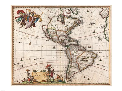 1658 Visscher Map of North America and South America Poster by Unknown for $67.50 CAD