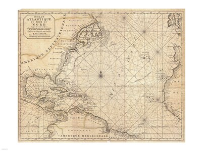 1683 Mortier Map of North America, the West Indies, and the Atlantic Ocean Poster by Unknown for $67.50 CAD