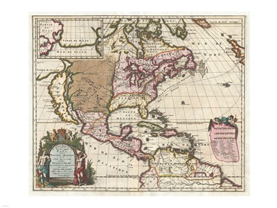 1698 Louis Hennepin Map of North America Poster by Unknown for $67.50 CAD