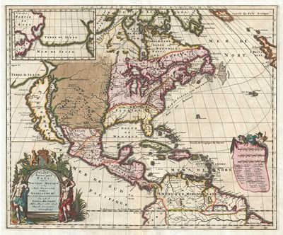 1698 Louis Hennepin Map of North America Poster by Unknown for $33.75 CAD