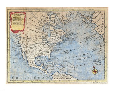 1747 Bowen Map of North America Poster by Unknown for $25.00 CAD