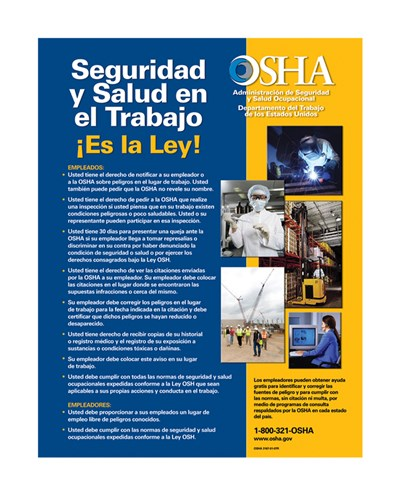 OSHA Job Safety and Health Spanish Version 2012 Poster by Unknown for $33.75 CAD