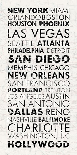 USA Cities White Poster by Veruca Salt for $63.75 CAD