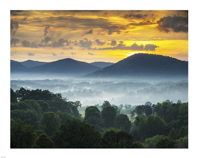 Asheville NC Blue Ridge Mountains Sunset and Fog Landscape Poster by Unknown for $56.25 CAD