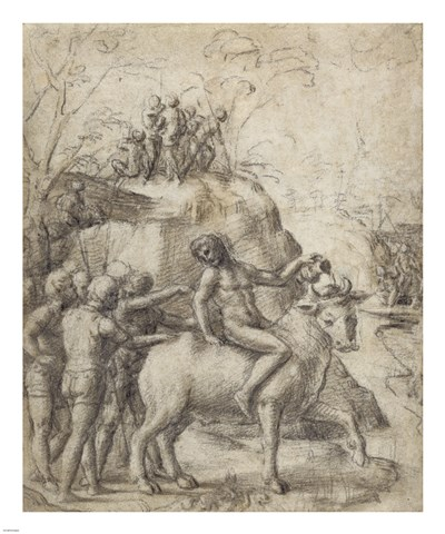 A Man Riding a Bull Poster by Antonio Allegri da Correggio for $71.25 CAD