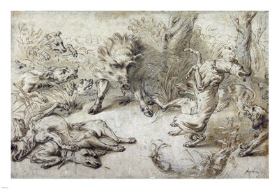 A Wild Boar at Bay Poster by Frans Snyders for $71.25 CAD