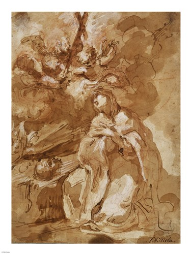 A Female Saint Contemplating a Crucifix Poster by Francesco Guardi for $67.50 CAD