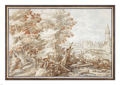 A Wooded Landscape with Travelers by a Stream, a Town Beyond Poster by Pieter Stevens for $65.00 CAD