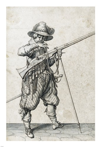 A Soldier on Guard Blowing Out a Match Poster by Jacques De gheyn for $63.75 CAD