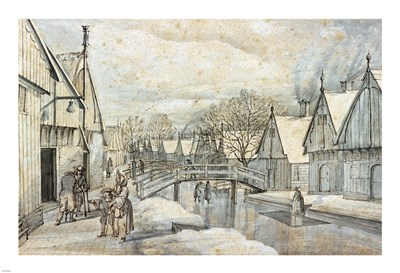 A Street in Jisp on a Winter's Day Poster by Abraham Rutgers for $57.50 CAD