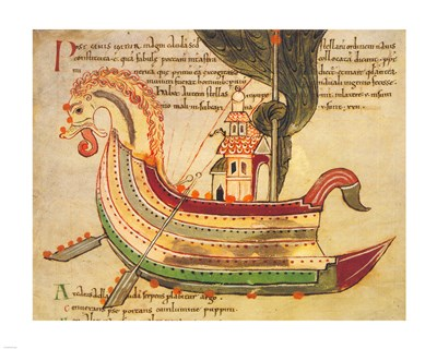 Viking Dragon Ship Poster by Unknown for $40.00 CAD