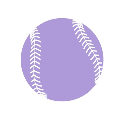 Purple Softball on White Poster by Sports Mania for $35.00 CAD