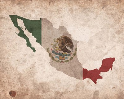Map with Flag Overlay Mexico Poster by Color Me Happy for $25.00 CAD