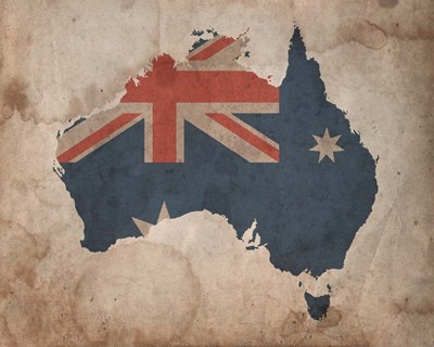 Map with Flag Overlay Australia Poster by Color Me Happy for $25.00 CAD