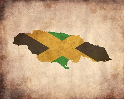 Map with Flag Overlay Jamaica Poster by Color Me Happy for $25.00 CAD