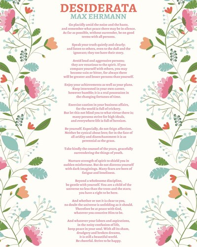 Decorative Desiderata Poster by Quote Master for $25.00 CAD