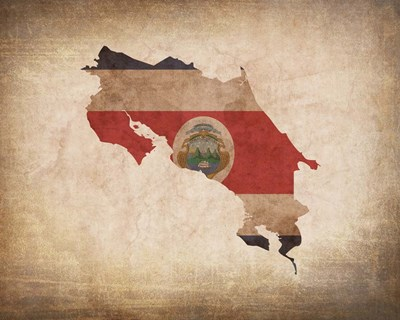 Map with Flag Overlay Costa Rica Poster by Color Me Happy for $25.00 CAD