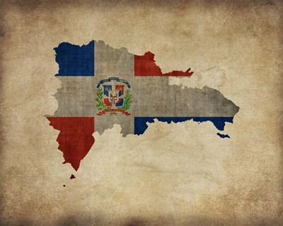 Map with Flag Overlay Dominican Republic Poster by Take Me Away for $25.00 CAD