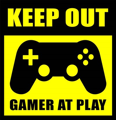 Keep Out Gamers At Play Poster by Color Me Happy for $65.00 CAD