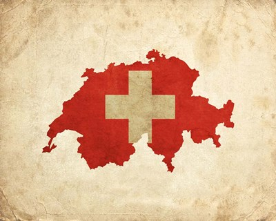 Map with Flag Overlay Switzerland Poster by Color Me Happy for $25.00 CAD