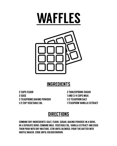 Waffle Recipe Black on White Poster by Color Me Happy for $56.25 CAD