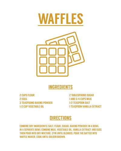 Waffle Recipe Yellow on White Poster by Color Me Happy for $56.25 CAD