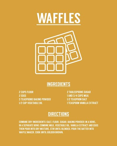 Waffle Recipe White on Yellow Poster by Color Me Happy for $56.25 CAD
