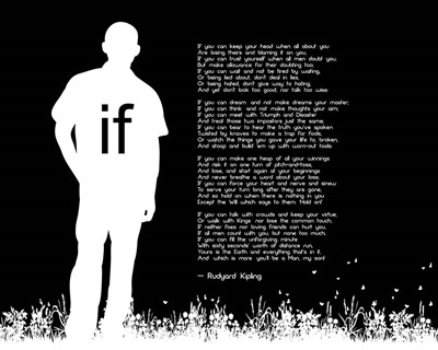 If by Rudyard Kipling - Man Silhouette Black Poster by Quote Master for $56.25 CAD