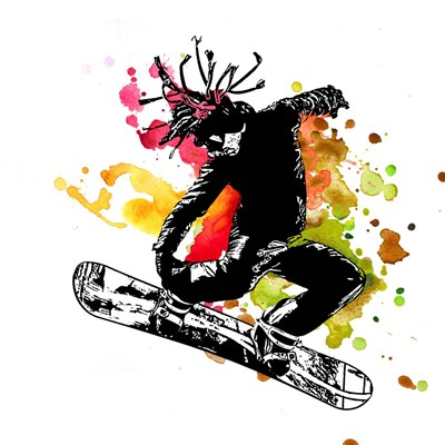 Snowboarder Watercolor Splash Part I Poster by Sports Mania for $35.00 CAD