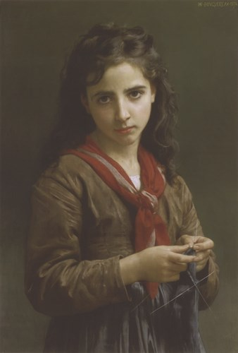 Young Girl Knitting, 1874 Poster by William Adolphe Bouguereau for $35.00 CAD