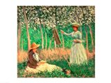 In the Woods at Giverny: Blanche Hoschede at her easel with Suzanne Hoschede reading, 1887