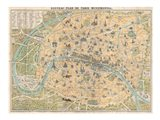 1890 Guilmin Map of Paris, France with Monuments