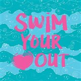 Swim Your Heart Out - Teal Pink