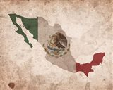 Map with Flag Overlay Mexico