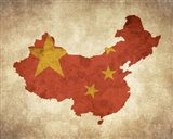 Map with Flag Overlay China