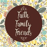Faith Family Friends Retro Floral White