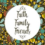 Faith Family Friends Retro Floral Black