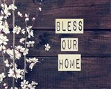 Bless Our Home Flowers on Wood Background
