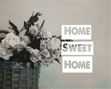 Home Sweet Home Flower Basket Black and White
