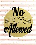 No Boys Allowed Stripes and Dots Gold