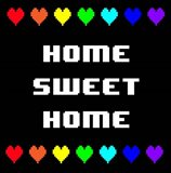Home Sweet Home -  Black with Pixel Hearts
