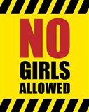 No Girls Allowed - Yellow Hazard Sign