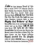 Names of Jesus Rectangle Black and Red Text