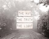 The Way The Truth The Light Railroad Tracks Black and White