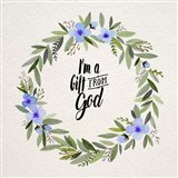 I'm A Gift From God Blue Flower Wreath