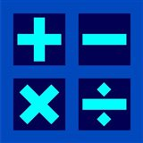 Math Symbols Square - Blue