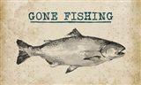 Gone Fishing Salmon Black and White
